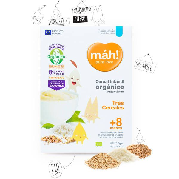 Cereal Infantil Pure Love Organico Tres cereales +8 Meses x 210g - Máh